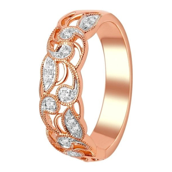 Wedding Band With 1/8 Carat Tw Of Diamonds In 14Kt Rose Gold