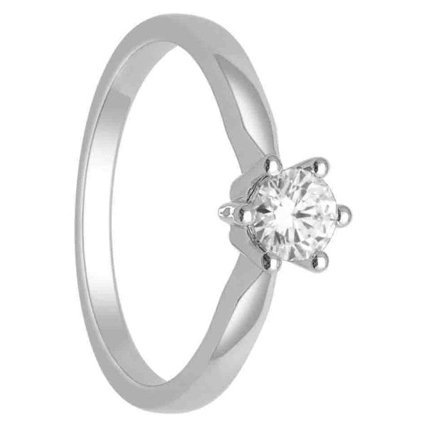 14Kt White Gold Solitaire Diamond Ring With 1/3 Carat Round Diamond