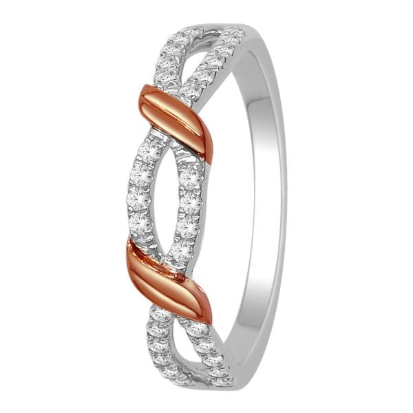 Wedding Band With 1/4 Carat Tw Of Diamonds In 14Kt White/Rose Gold