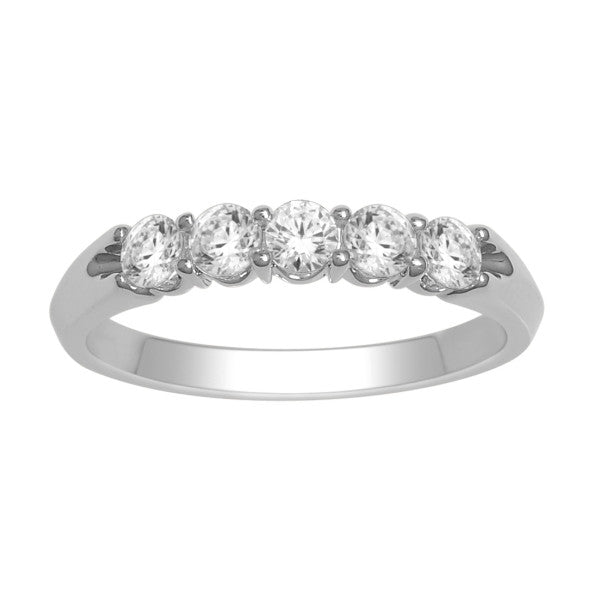 Five Stone Diamond Ring With 0.55 Carat Tw Of Diamonds In 14Kt White Gold