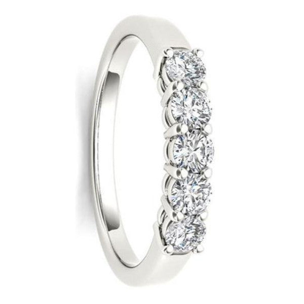 Five Stone Diamond Ring With 1/2 Carat Tw Of Diamonds In 14Kt White Gold