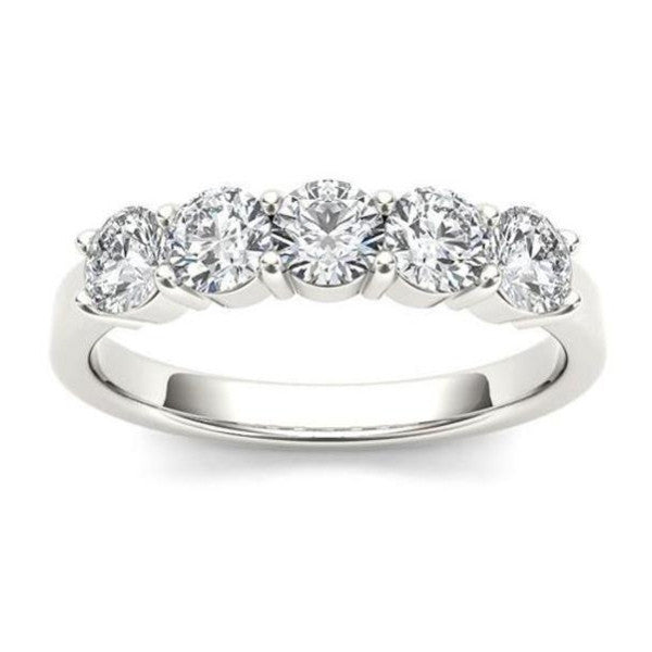 Five Stone Diamond Ring With 1 1/4 Carat Tw Of Diamonds In 18Kt White Gold