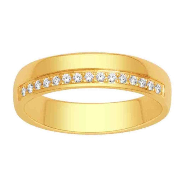 Wedding Band With 1/8 Carat Tw Of Diamonds In 14Kt Yellow Gold