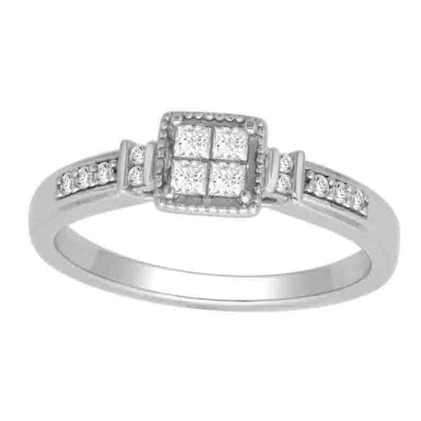 14Kt White Gold Classic Diamond Ring With 0.27 Carat Tw Of Diamonds