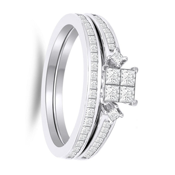 Bridal Set With 1 Carat Tw Of Diamonds In 18Kt White Gold