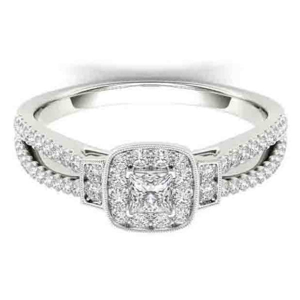 18Kt White Gold Classic Diamond Engagement Ring With 1/2 Carat Tw Of Diamonds