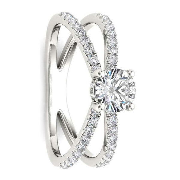 18Kt White Gold Classic Diamond Ring With .80 Carat Tw Of Diamonds