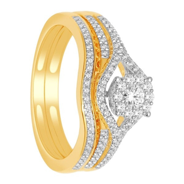 Bridal Set With 3/8 Carat Tw Of Diamonds In 14Kt Yellow Gold