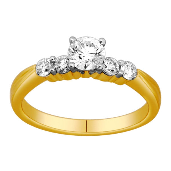 Five Stone Diamond Ring With 3/4 Carat Tw Of Diamonds In 18Kt Yellow Gold