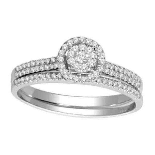 Bridal Set With 1/3 Carat Tw Of Diamonds In 14Kt White Gold