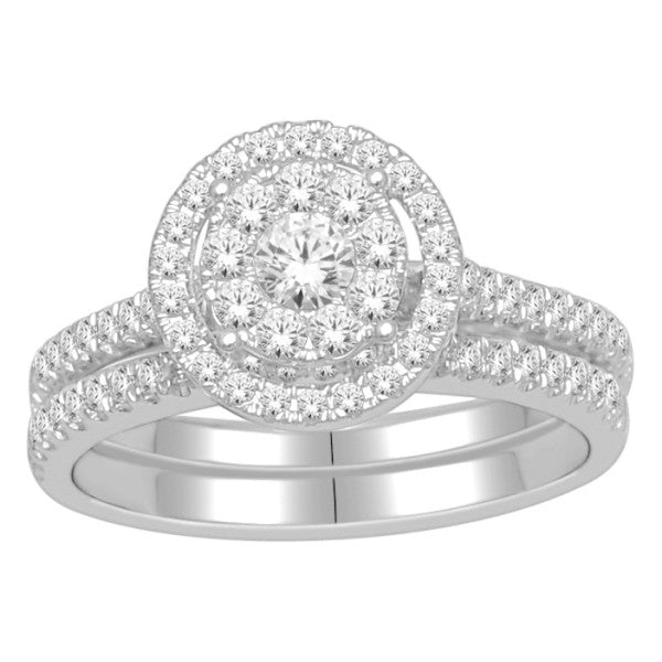 Bridal Set With 0.82 Carat Tw Of Diamonds In 18Kt White Gold