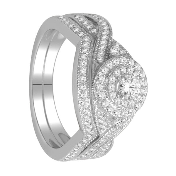 Bridal Set With 3/4 Carat Tw Of Diamonds In 18Kt White Gold