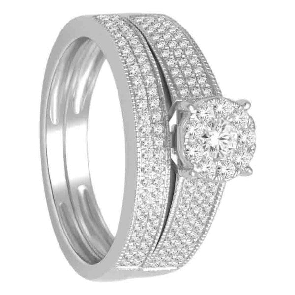 Bridal Set With 1/2 Carat Tw Of Diamonds In 14Kt White Gold