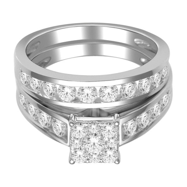 Bridal Set With 1 1/2 Carat Tw Of Diamonds In 18Kt White Gold