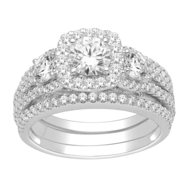 Bridal Set With 2 Carat Tw Of Diamonds In 18Kt White Gold