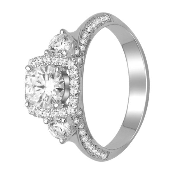 Engagement Ring With 1 1/2 Carat Tw Of Diamonds In 18Kt White Gold