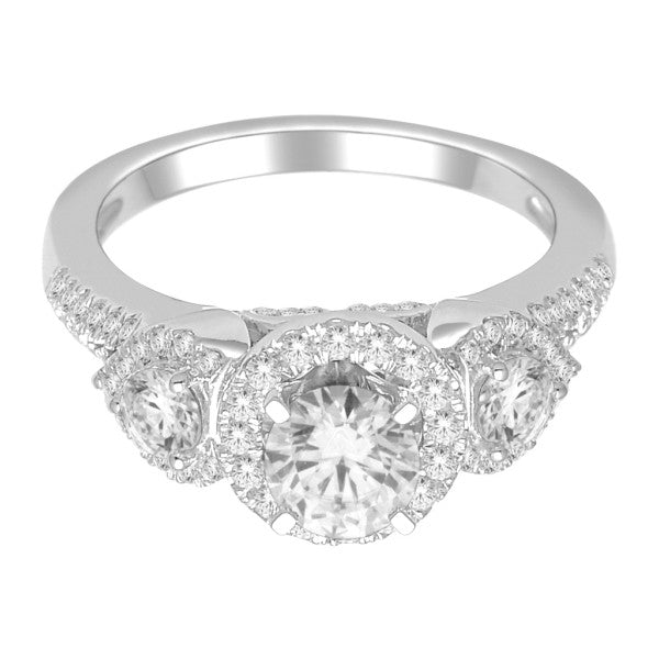 Engagement Ring With 1 3/4 Carat Tw Of Diamonds In 18Kt White Gold
