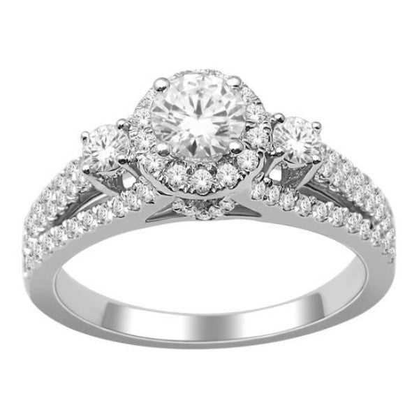 18Kt White Gold Classic Diamond Engagement Ring With 1.20 Carat Tw Of Diamonds