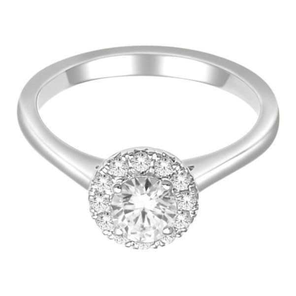 18Kt White Gold Classic Diamond Engagement Ring With 3/4 Carat Tw Of Diamonds