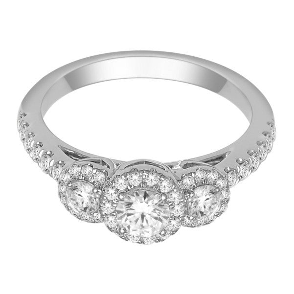 18Kt White Gold Classic Diamond Engagement Ring With 1 Carat Tw Of Diamonds