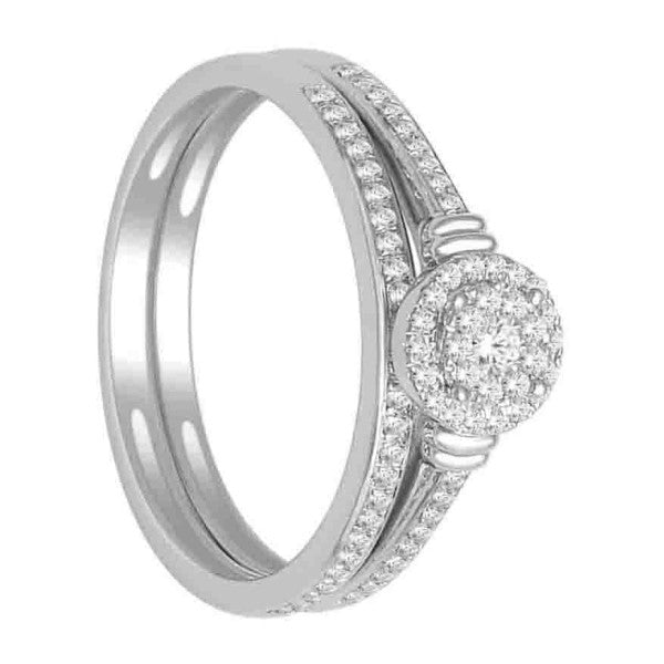 Bridal Set With 1/4 Carat Tw Of Diamonds In 14Kt White Gold