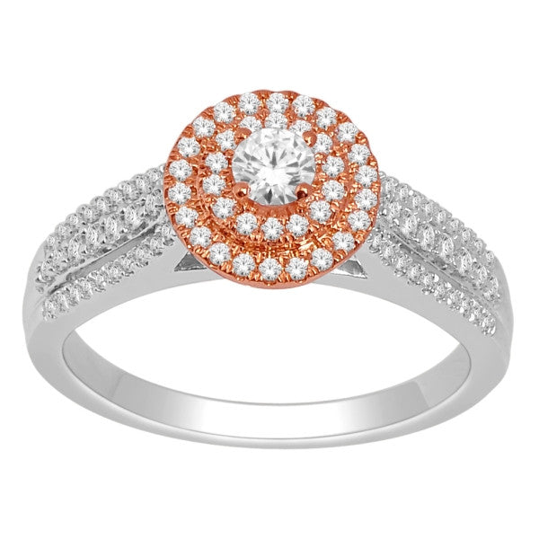 Engagement Ring With 0.60 Carat Tw Of Diamonds In 18Kt White/Rose Gold