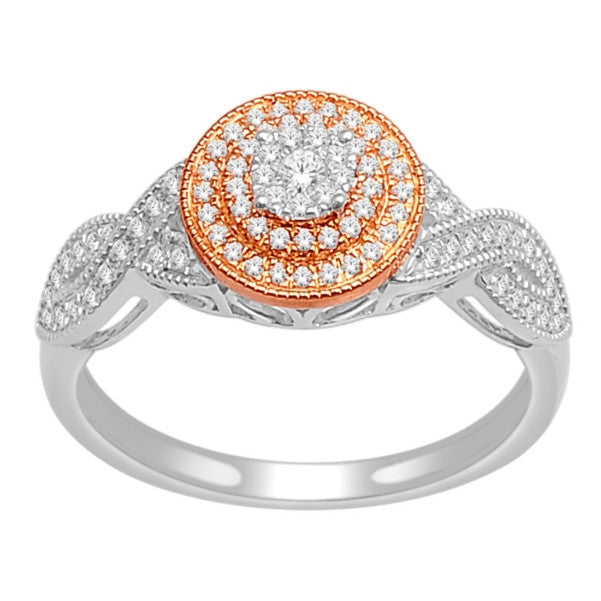 14Kt White/Rose Gold Classic Diamond Ring With 1/4 Carat Tw Of Diamonds