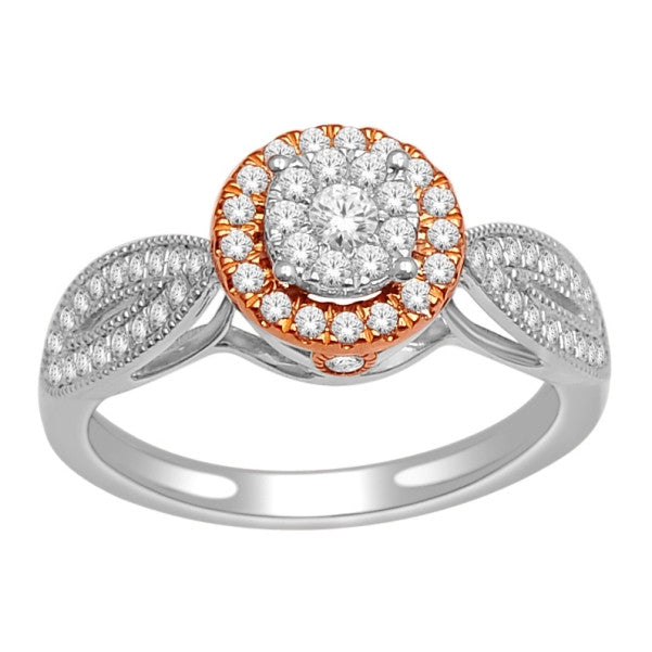 14Kt White/ Rose Gold Classic Diamond Ring With 1/2 Carat Tw Of Diamonds