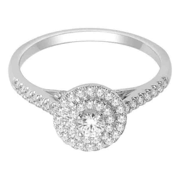 14Kt White Gold Classic Diamond Ring With 1/2 Carat Tw Of Diamonds
