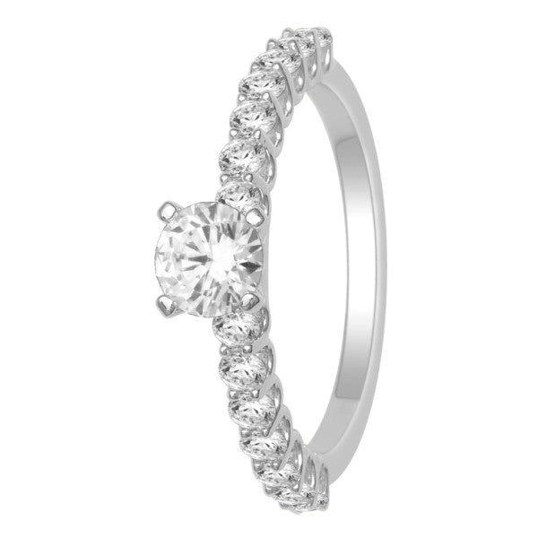 Gia Certified 18Kt White Gold Solitaire Engagement Ring With 1 Carat Tw Of Diamonds