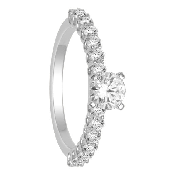 18Kt White Gold Solitaire Engagement Ring With 1 Carat Tw Of Diamonds