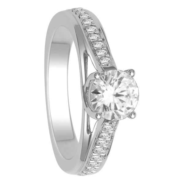 18Kt White Gold Solitaire Engagement Ring With 1 1/4 Carat Tw Of Diamonds