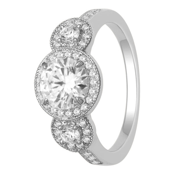 Gia Certified 18Kt White Gold Solitaire Engagement Ring With 1 1/2 Carat Tw Of Diamonds