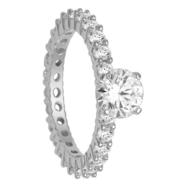 18Kt White Gold Solitaire Engagement Ring With 2 1/2 Carat Tw Of Diamonds