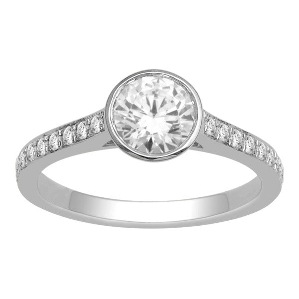 18Kt White Gold Solitaire Engagement Ring With Side Accents And 1 1/4 Carat Tw Of Diamonds