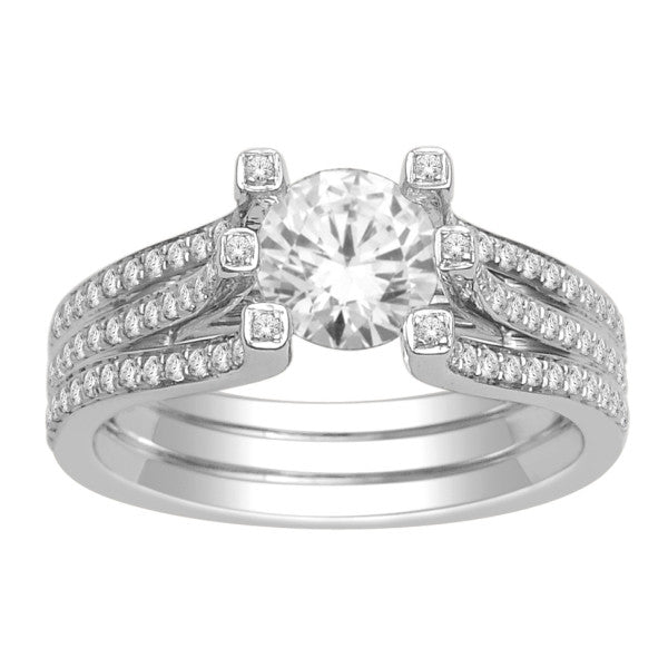 18Kt White Gold Solitaire Engagement Ring With 1 1/2 Carat Tw Of Diamonds