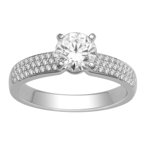 18Kt White Gold Solitaire Engagement Ring With 1 1/5 Carat Tw Of Diamonds