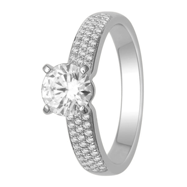 Gia Certified 18Kt White Gold Solitaire Engagement Ring With 1 1/5 Carat Tw Of Diamonds