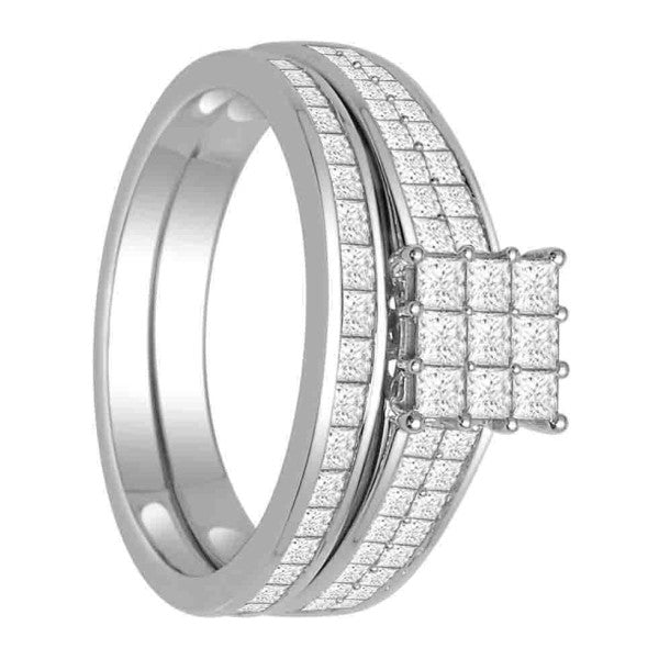 Bridal Set With 1 1/4 Carat Tw Of Diamonds In 18Kt White Gold
