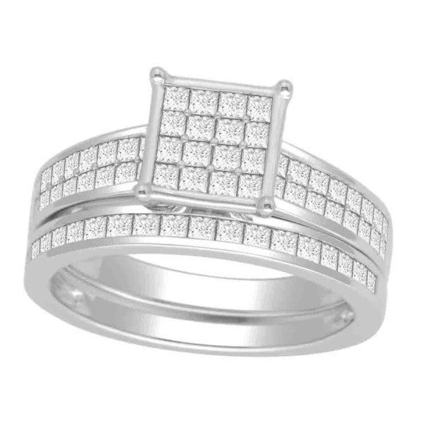 Bridal Set With 1 1/5 Carat Tw Of Diamonds In 18Kt White Gold