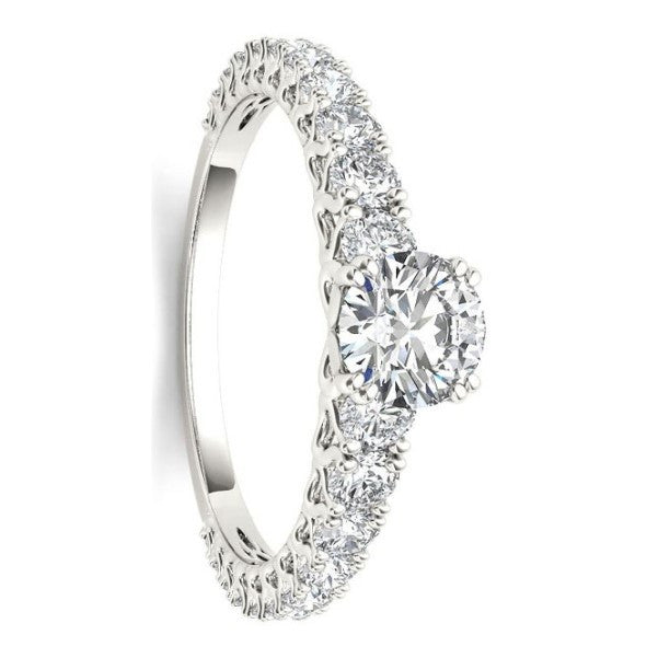 18Kt White Gold Classic Diamond Ring With 1 Carat Tw Of Diamonds