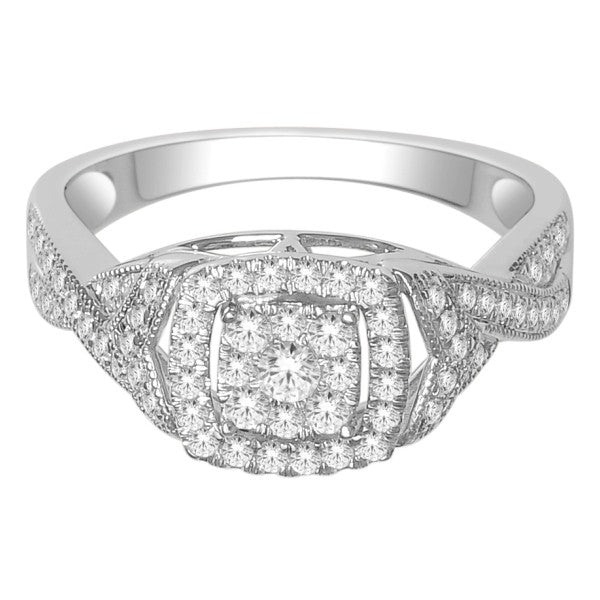 Engagement Ring With 3/4 Carat Tw Of Diamonds In 18Kt White Gold