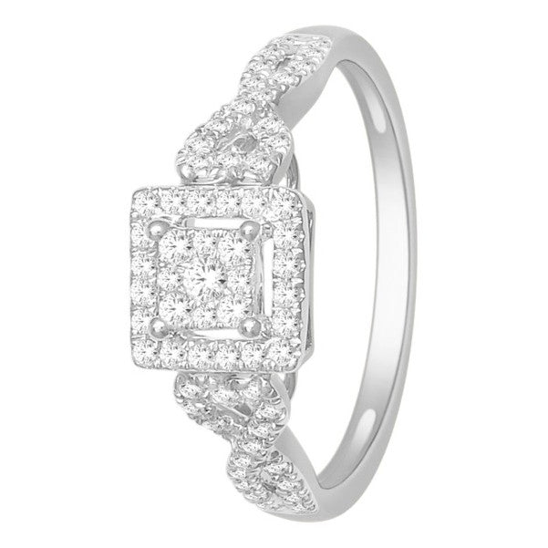 14Kt White Gold Classic Diamond Ring With 3/8 Carat Tw Of Diamonds
