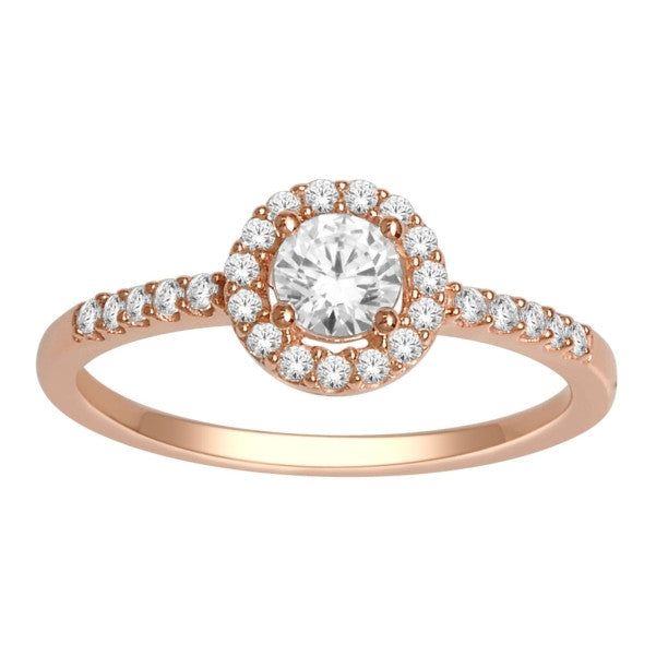 14Kt Rose Gold Classic Diamond Ring With 1/2 Carat Tw Of Diamonds