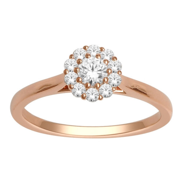 14Kt Rose Gold Classic Diamond Ring With 3/8 Carat Tw Of Diamonds