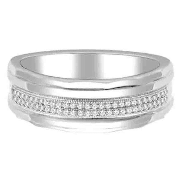 14Kt White Gold  Mens Wedding Band With 1/5 Carat Tw Of Diamonds