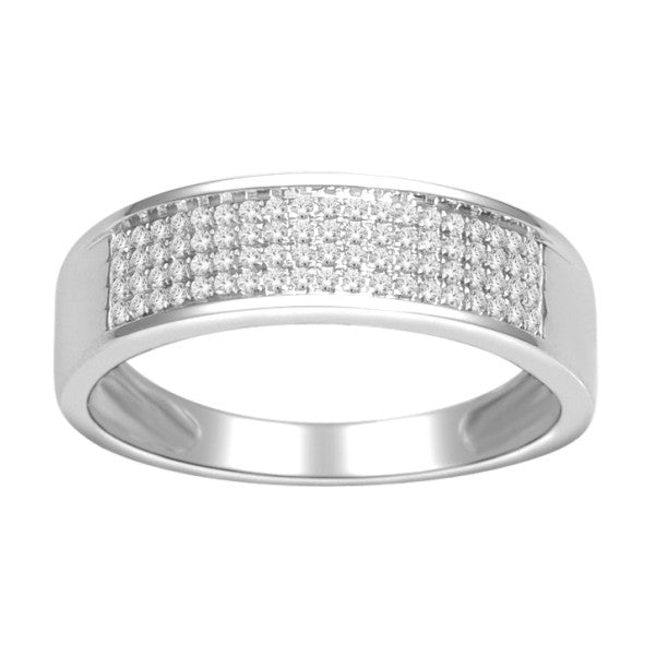 14Kt White Gold Mens Diamond Wedding Band With 1/4 Carat Tw Of Diamonds