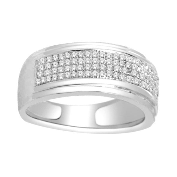 BUY 14KT WHITE GOLD MENS DIAMOND WEDDING BAND WITH 13 CARAT TW OF