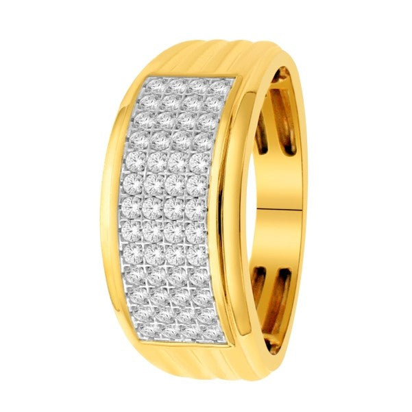 18Kt Yellow Gold Mens Diamond Wedding Band With 3/4 Carat Tw Of Diamonds