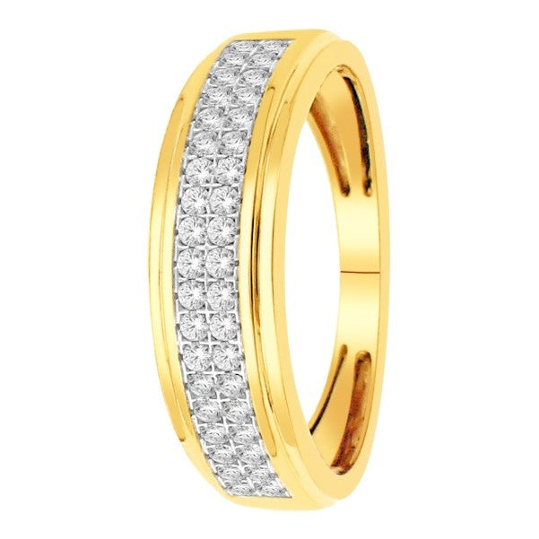 18Kt Yellow Gold Mens Diamond Wedding Band With 1/2 Carat Tw Of Diamonds
